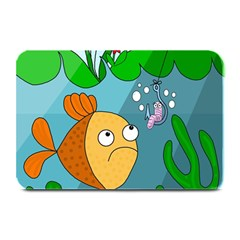 Fish And Worm Plate Mats by Valentinaart