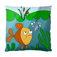 Fish And Worm Standard Cushion Case (one Side) by Valentinaart