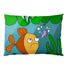 Fish And Worm Pillow Case by Valentinaart