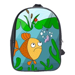 Fish And Worm School Bags(large)  by Valentinaart