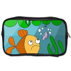 Fish And Worm Toiletries Bags by Valentinaart