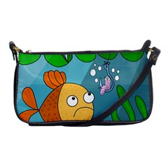 Fish And Worm Shoulder Clutch Bags by Valentinaart