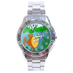 Fish And Worm Stainless Steel Analogue Watch by Valentinaart