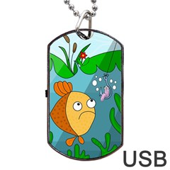 Fish And Worm Dog Tag Usb Flash (one Side) by Valentinaart