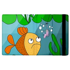 Fish And Worm Apple Ipad 2 Flip Case by Valentinaart