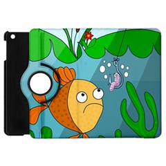Fish And Worm Apple Ipad Mini Flip 360 Case by Valentinaart