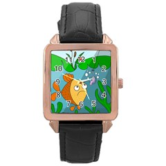 Fish And Worm Rose Gold Leather Watch  by Valentinaart