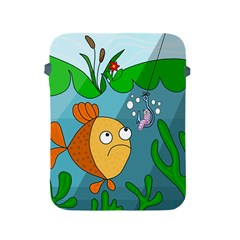 Fish And Worm Apple Ipad 2/3/4 Protective Soft Cases by Valentinaart
