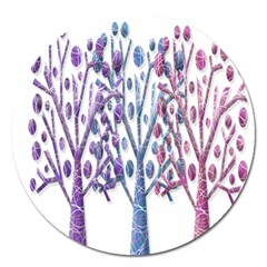 Magical Pastel Trees Magnet 5  (round) by Valentinaart