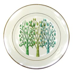 Magical Green Trees Porcelain Plates by Valentinaart