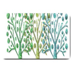 Magical Green Trees Large Doormat  by Valentinaart