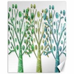 Magical Green Trees Canvas 11  X 14   by Valentinaart