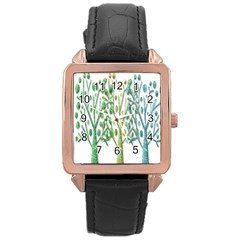 Magical Green Trees Rose Gold Leather Watch