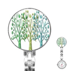 Magical Green Trees Stainless Steel Nurses Watch by Valentinaart