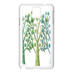 Magical Green Trees Samsung Galaxy Note 3 N9005 Case (white) by Valentinaart