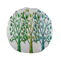 Magical Green Trees Standard 15  Premium Flano Round Cushions by Valentinaart