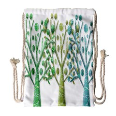 Magical Green Trees Drawstring Bag (large) by Valentinaart