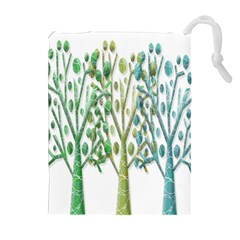 Magical Green Trees Drawstring Pouches (extra Large) by Valentinaart