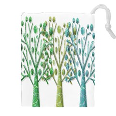Magical Green Trees Drawstring Pouches (xxl) by Valentinaart