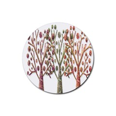 Magical Autumn Trees Rubber Round Coaster (4 Pack)  by Valentinaart