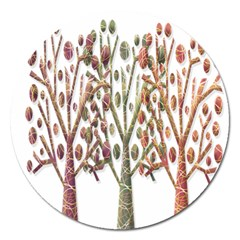 Magical Autumn Trees Magnet 5  (round) by Valentinaart