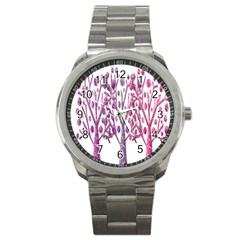 Magical Pink Trees Sport Metal Watch by Valentinaart