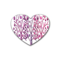 Magical Pink Trees Rubber Coaster (heart)  by Valentinaart