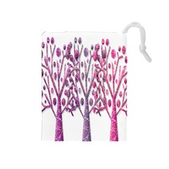 Magical Pink Trees Drawstring Pouches (medium)  by Valentinaart