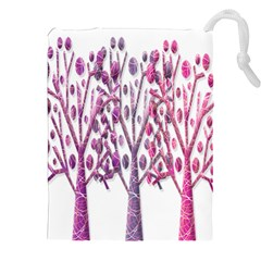 Magical Pink Trees Drawstring Pouches (xxl) by Valentinaart