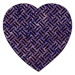 Woven2 Black Marble & Purple Marble (r) Jigsaw Puzzle (heart) by trendistuff