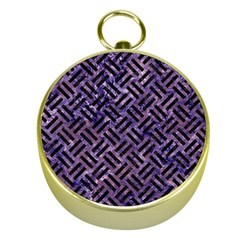 Woven2 Black Marble & Purple Marble (r) Gold Compass by trendistuff