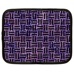 Woven1 Black Marble & Purple Marble (r) Netbook Case (large) by trendistuff