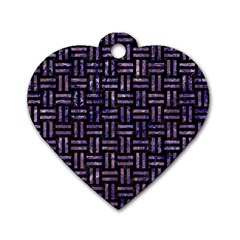 Woven1 Black Marble & Purple Marble Dog Tag Heart (one Side) by trendistuff