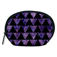 Triangle2 Black Marble & Purple Marble Accessory Pouch (medium) by trendistuff