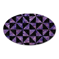 Triangle1 Black Marble & Purple Marble Magnet (oval) by trendistuff