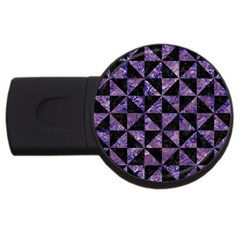 Triangle1 Black Marble & Purple Marble Usb Flash Drive Round (2 Gb) by trendistuff