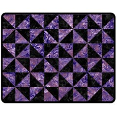 Triangle1 Black Marble & Purple Marble Double Sided Fleece Blanket (medium) by trendistuff