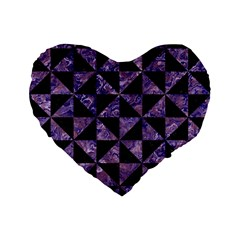 Triangle1 Black Marble & Purple Marble Standard 16  Premium Flano Heart Shape Cushion  by trendistuff