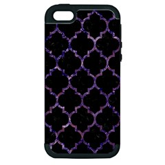 Tile1 Black Marble & Purple Marble Apple Iphone 5 Hardshell Case (pc+silicone) by trendistuff