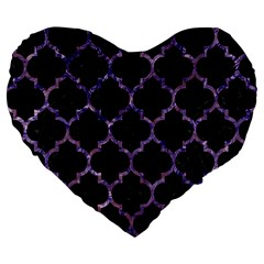 Tile1 Black Marble & Purple Marble Large 19  Premium Flano Heart Shape Cushion by trendistuff