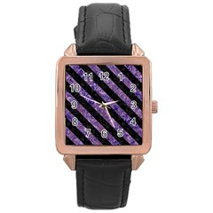 Stripes3 Black Marble & Purple Marble (r) Rose Gold Leather Watch