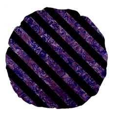 Stripes3 Black Marble & Purple Marble (r) Large 18  Premium Flano Round Cushion  by trendistuff