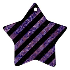 Stripes3 Black Marble & Purple Marble Star Ornament (two Sides) by trendistuff
