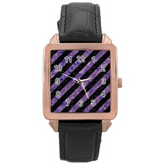 Stripes3 Black Marble & Purple Marble Rose Gold Leather Watch