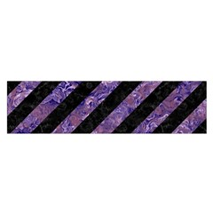 Stripes3 Black Marble & Purple Marble Satin Scarf (oblong) by trendistuff