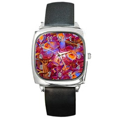 Floral Artstudio 1216 Plastic Flowers Square Metal Watch