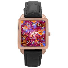 Floral Artstudio 1216 Plastic Flowers Rose Gold Leather Watch