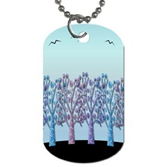 Blue Magical Hill Dog Tag (two Sides) by Valentinaart