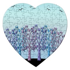 Blue Magical Hill Jigsaw Puzzle (heart) by Valentinaart