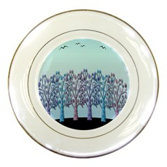 Blue Magical Hill Porcelain Plates by Valentinaart